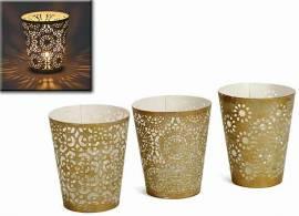 Windlicht Metall gold/weiß 3er-Set (932241) - Bild vergrößern
