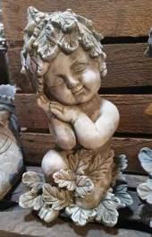 Blätterkind Gartenfigur Stein (673B) Englischer Antiksteinguss