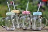 Trinkglas mit Deckel und Strohhalm 400 ml 4er-Set (225370)