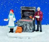 Weihnachts Marktstand Grillstand beleuchtet (16924w)
