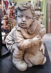 Junge mit Hund Gartenfigur Stein (683) Englischer Antiksteinguss