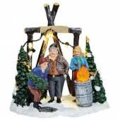 Weihnachts Marktstand Christbaum Verkauf beleuchtet (18692w)