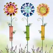 Regenmesser Blume bunt Metall/Glas (G69542)