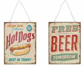 Schild Beer / Hot Dogs Metall (14730w)