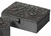 Schmuckbox grau Textil verziert (480450)