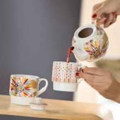 2 Teetassen mit Teekanne Blütenblätter (G49204) Tea for two