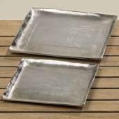 Dekoteller Teller Schale Aluminium silber 2er-Set (383390)