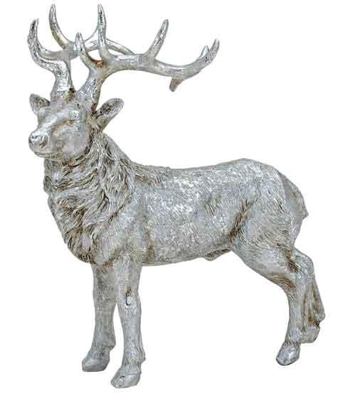 Hirsch Stehend Silber 19 Cm 56227w Tierfigur Dekofigur