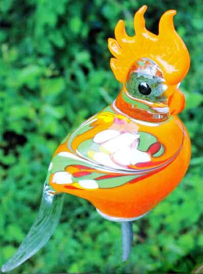 glas kakadu 30 cm auf stab mundgeblasen (13100) nur 29.90 eur, Garten ideen