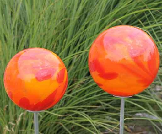 Gartenstecker glas kugel 15 cm auf stab mundgeblasen 6 for Gartendeko aus glas