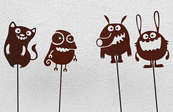 Gartenstecker funny animals metall rost nur eur for Rost gartenstecker