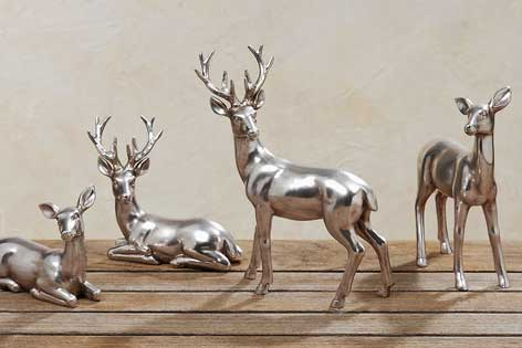 Reh hirsch stehend silber 842420 neu figur dekofigur for Hirsch silber