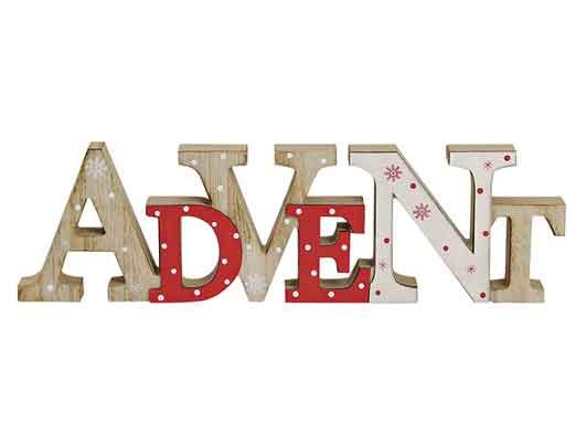 Schriftzug Advent Holz 40 cm (24270w)