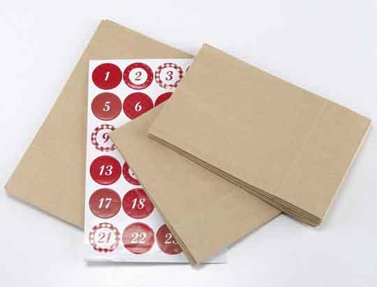Adventskalender zum Basteln Papiertüten + Klammern (54027)