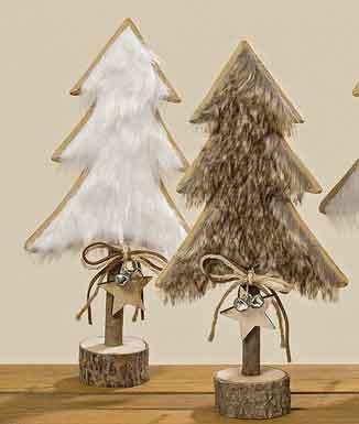 Tanne Baum Holz mit Fell 2er-Set 31 cm (1001085)