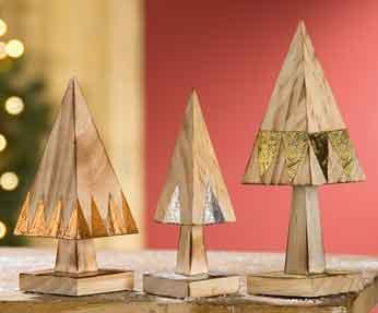 Baum Pyramide 3er-Set Holz 15 cm (G25530)