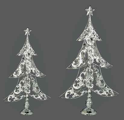 Tanne Baum Metall creme-silber 64 cm (960581)