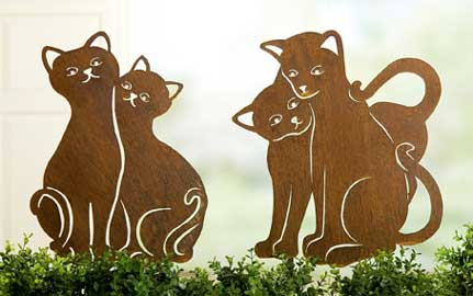 Gartenstecker beetstecker katze paar metall nur eur for Gartenstecker metall rostoptik