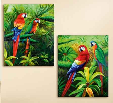 Bild Papagei sehr bunt 80 x 100 cm (G38630)