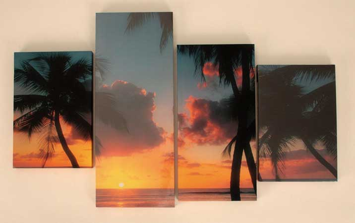Bild Sonnenuntergang 4-teilig Kunstdruck auf Keilrahmen (5135-I)