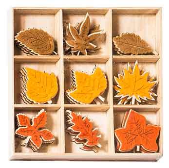 Deko Blätter Holz in Box 27 Stück (921850)