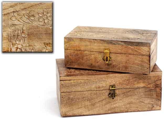 Box Holz braun, verziert, 2er-Set (936544)
