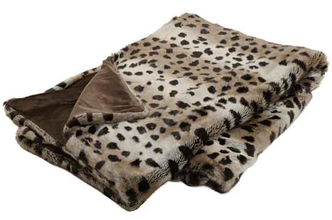 Decke Tagesdecke Kunstfell, Gepard braun, sehr hochwertig (19211w)