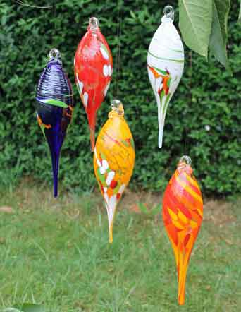 Glas Zapfen hängend mundgeblasen mit Stab (23700)