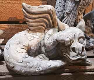 Drache erwachend Gartenfigur Stein (310) Englischer Antiksteinguss