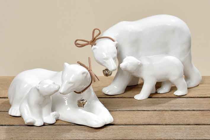 Eisbär mit Jungem Porzellan weiß, edel, 18 cm (114100)