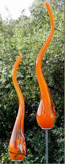 Glas Flamme 45 cm auf Stab mundgeblasen (10501)