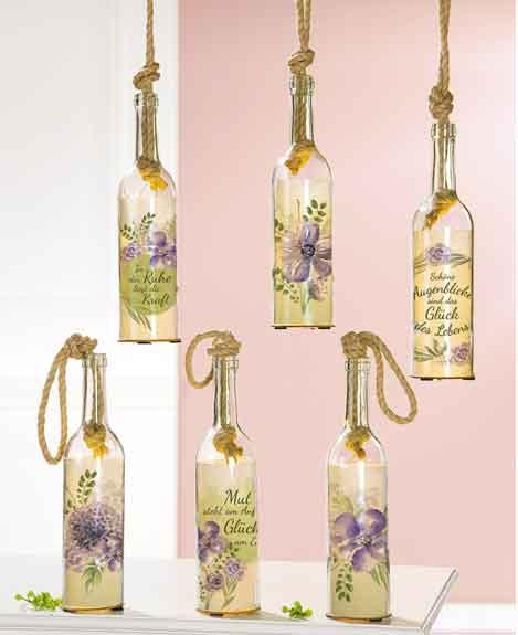 Flasche mit LED Beleuchtung und Spruch/Blume (G42652)