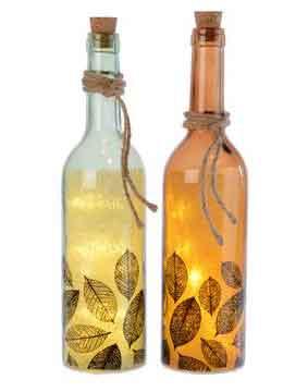 Flasche mit LED Beleuchtung und Deko Flaschenpost (K481722)