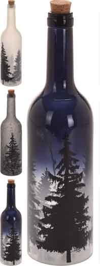 Flasche mit LED Beleuchtung, mit Bäumen, Flaschenpost (Ko6003140)