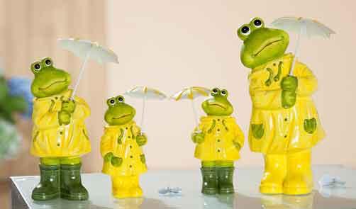Frosch mit Schirm und Regenkleidung 2er-Set witzig (G32884)