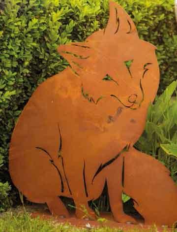 Gartenstecker Beetstecker Lieber Fuchs 56 cm Metall Rost