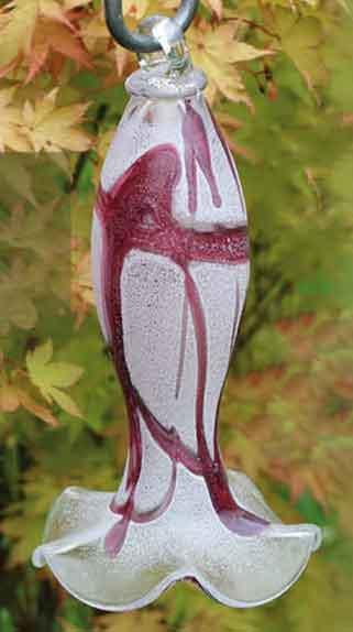 Glas Glockenblume Engelsglocke 26 cm hängend mit Stab mundgeblasen (12903sand)