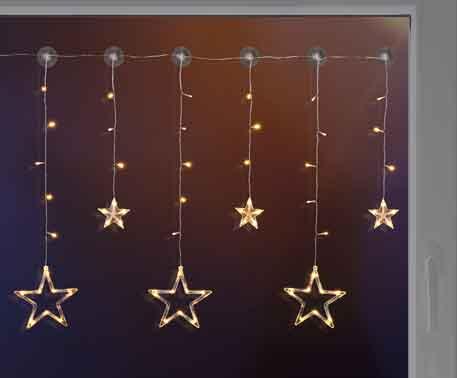 LED Sternenvorhang Lichterkette mit 6 Sternen und 63 LEDs (76051)