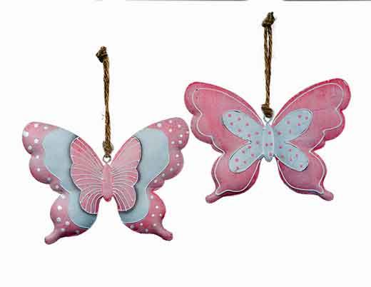 Hänger Wanddeko Schmetterling rosa 2er-Set (922339)
