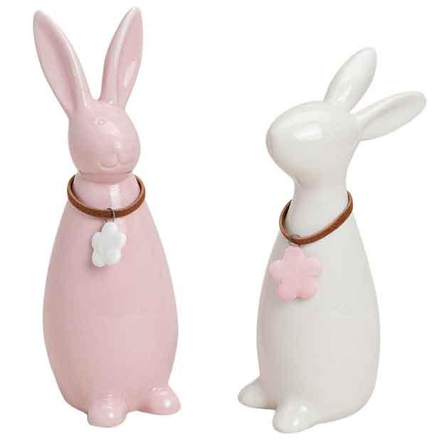 Hase Porzellan weiß/rosa 2er-Set (14087w)