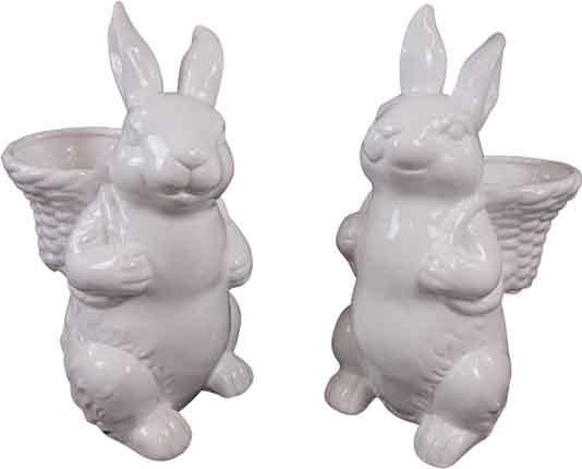 Hase mit Korb weiß Keramik 28 cm (H2329)