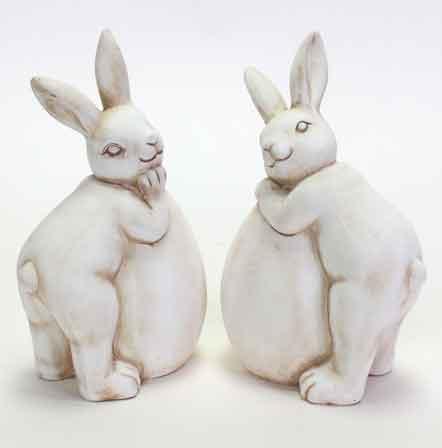 Hase auf Ei lehnend Keramik 2er-Set (V38772)