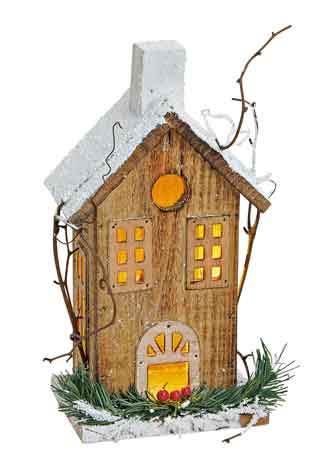 Haus Holz mit LED Beleuchtung (13298w)