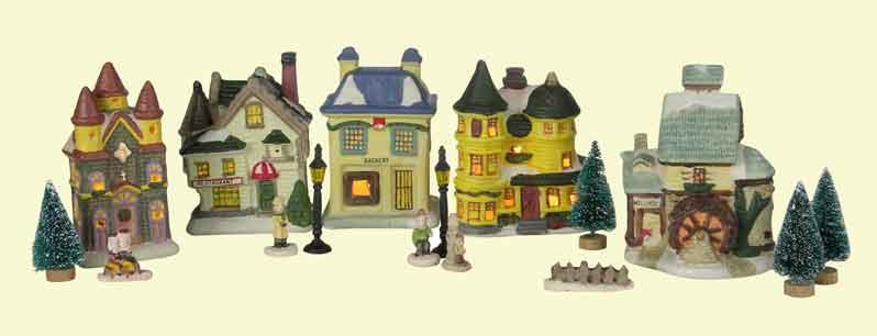 Weihnachtsstadt mit Beleuchtung 17-teilig (54228)