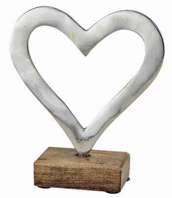 Herz Metall mit Mangosockel 17 cm (10799w)