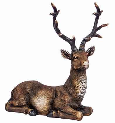 Hirsch dunkelbraun liegend 30 cm wie echt (921837)