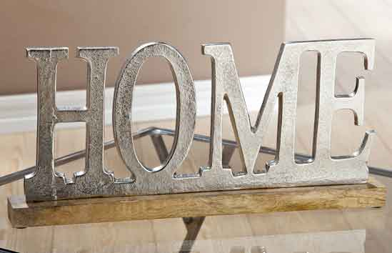 Alu Schriftzug Home auf Holzbasis silber Mango 48 cm (G48194)
