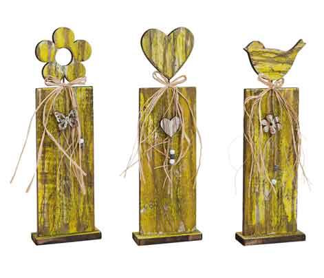 Holz Säule zum Stellen Herz Blume Vogel (12910w)
