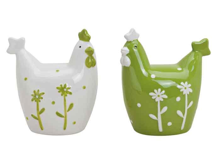 Huhn Keramik weiß/grün 10 cm 2er-Set (57292w)