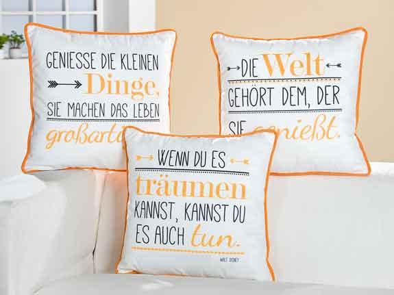 Kissen weiß-orange mit Spruch (G46923)